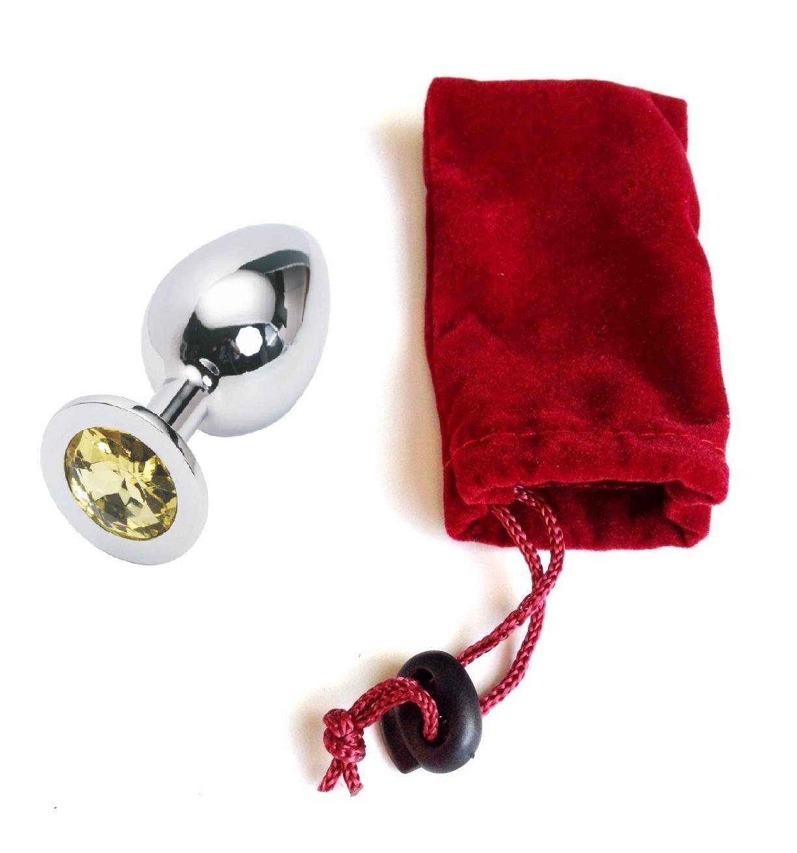 Анальная пробка Anal Jewelry Plug Silver Yellow L