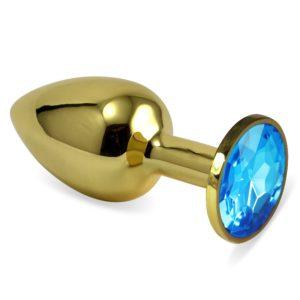 Анальная пробка Rosebud Gold S голубая